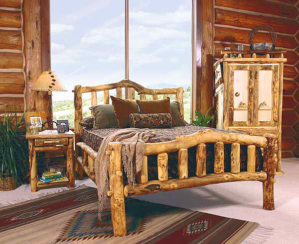 Rustic log bedroom furniture log furniture bed for Rustic bedroom furniture