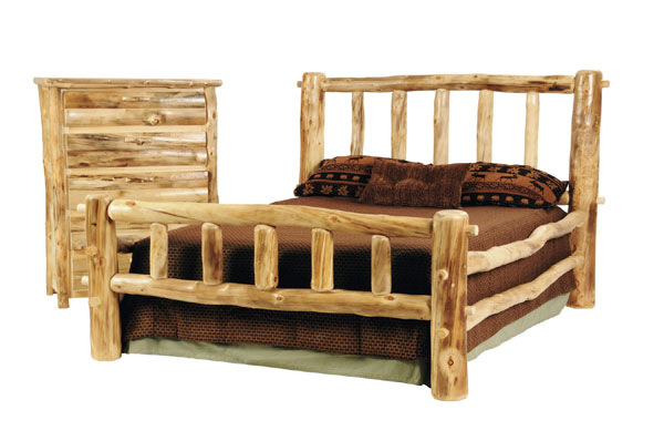 discount rustic log bed
