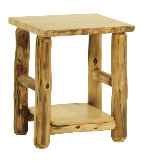 Rustic Aspen Log Side Table
