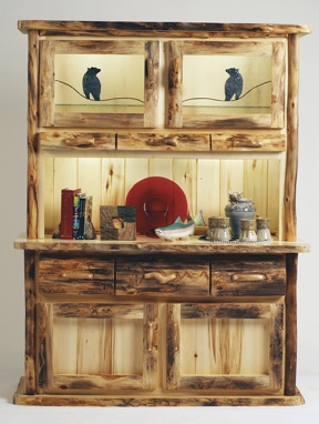 Rustic Dining Log Hutch