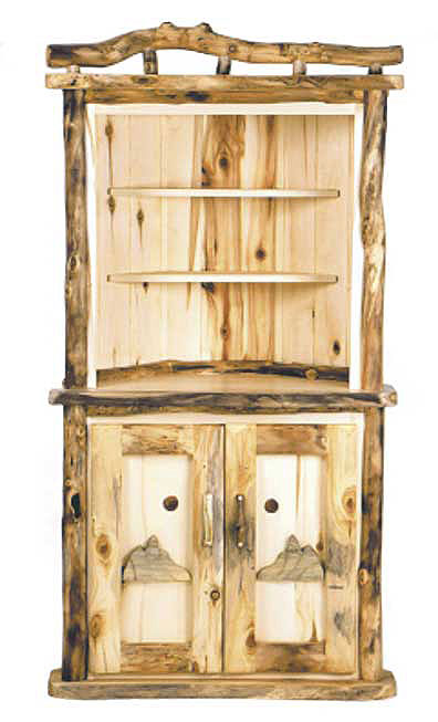 rustic dining log corner hutch - Dining Room Corner Hutch