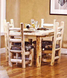 Rustic Aspen Log Dining Room Table
