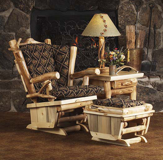 Rustic Twig Art Rocker Glider - Rustic Log Living Room Furniture, Log Glider, Aspen Log Rockers