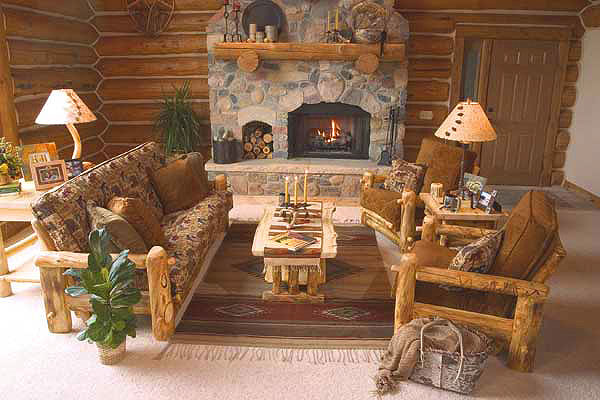 Rustic Log Living Room Furniture Log Glider Aspen Log Rockers