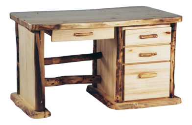 Rustic Aspen Log Office Desk