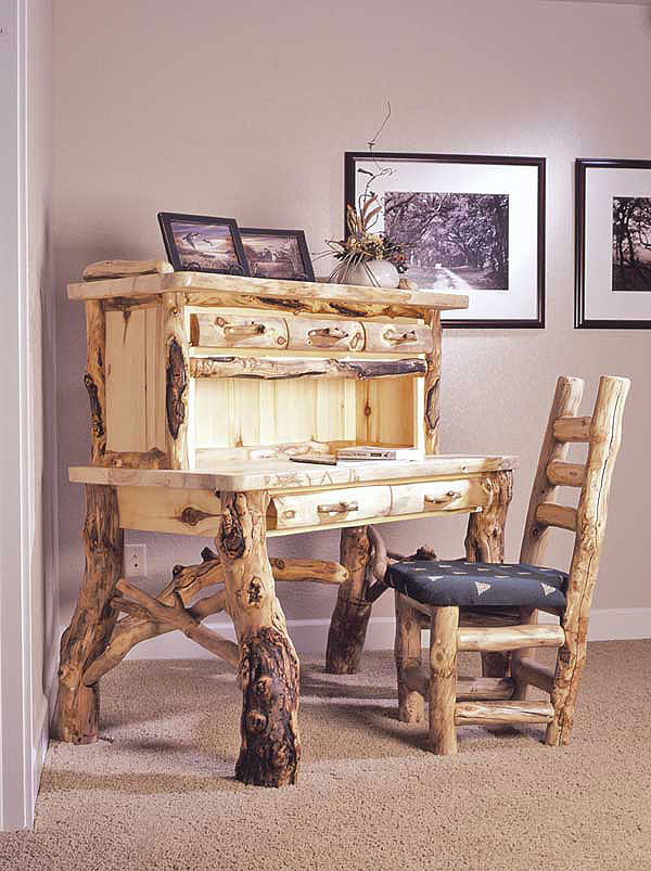 Rustic Log Desk And Chair