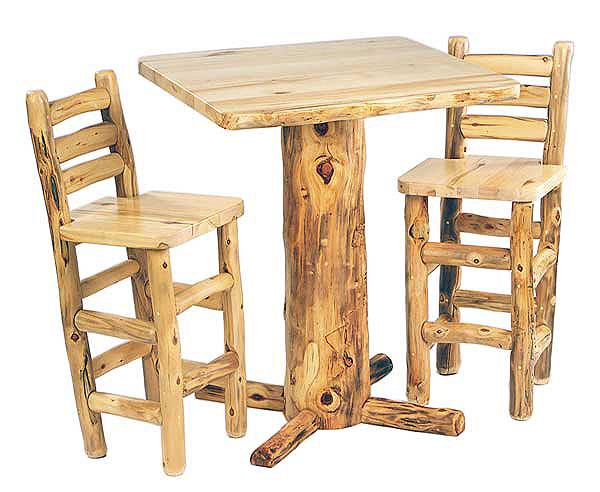 Rustic Aspen Log Pub Table
